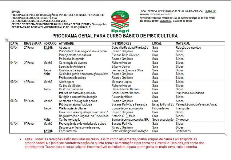 PROGRAMA GERAL PARA CURSO BÁSICO DE PISCICULTURA